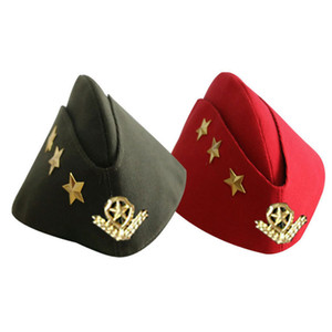 boina roja militar al por mayor-Sailor Dance Hat Russian Caps Square Dance Performance Boat Cap Army Cap Militar Sombrero al por mayor Envío gratuito