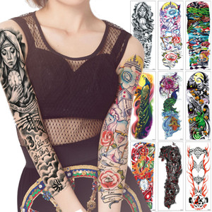 Big Large Full Arm Tattoo Sticker Cartoon Girl Pray Mechanical Design Fake Colored Drawing Temporary Tattoo Halloween Gift for Man Woman DIY
