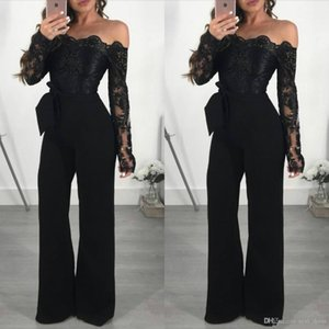 Wholesale engagement plus size long arabic black evening formal dresses 2018 mermaid prom dresses party wear Abendkleider Lace Jumpsuits With Bow