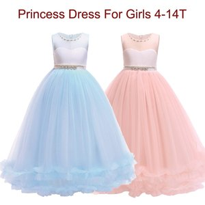 Wholesale Princess Dress For Girls First Feast Dress Wedding Lace Pearl Girl Dress Party Pageant Bridesmaids Formal Gown For Teen Y