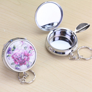 Wholesale Portable Pocket Ashtray Creative Rose Flower Round Cigarette Keychain Ashtrays outdoors Stainless Steel Cigarette Holder Ash Container