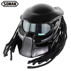 High quality SOMAN957 domineering warrior motorcycle helmet personality Harley braid riding full helmet with laser light