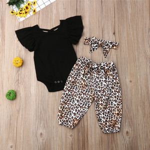 Wholesale Summer baby girl kids clothes Black short sleeved top Panther print trousers bows Headband piece set Kids Designer Clothes Girls JY472