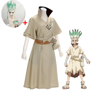 ingrosso dr set-Anime parrucca Costumi dottor Stone Senku Set costume cosplay Ishigami Senku adulti White Male completa Halloween Natale Carnival Party