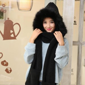 Wholesale Winter Warm Scarf Hat Snood Pocket Hats Gloves Ladies Faux Fur Fluffy Hood Hats Solid Color Scarf Winter Keep Warm Gloves