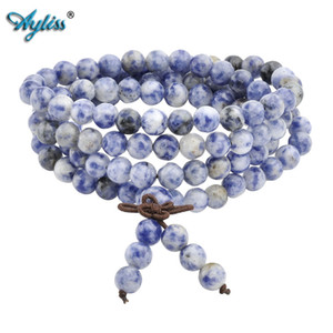 Wholesale Ayliss Hot mm mm Natural Sodalite Stone Healing Gem Stone Buddhist Prayer Beads Tibetan Mala Stretch Bracelet Necklace pc