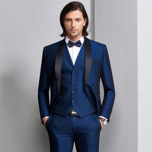Wholesale wedding satin shawls for sale - Group buy New Navy Blue Men Wedding Suits Black Satin Shawl Lapel Groom Tuxedos Piece Jacket Pants Vest Groomsman Suits Best Man Blazer