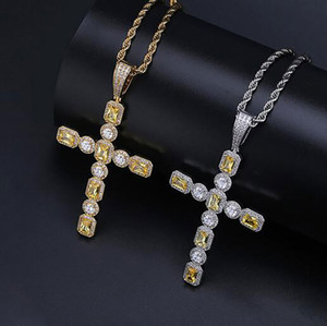 Wholesale round cut necklace for sale - Group buy Lemonade Cut Round Cut Cross Pendant Bling Micro Pave Cubic Zircon Row Cross Pendant Necklace For Men Women Gifts