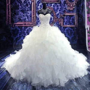 2020 Luxury Beaded Embroidery Ball Gown Wedding Dresses Princess Sweetheart Organza Cascading Ruffles Cathedral Train Bridal Gowns Cheap