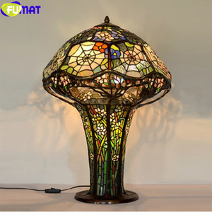 Wholesale FUMAT Tiffany Stained Glass Orchid Table Lamps Mushroom Spider Web Antique Desk Lamp Pure Copper LED Light Pull switch Fixtures