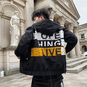 Wholesale luxury men jacket autumn hooded brand jacket spring and autumn casual loaded Korean version of the tooling clothes trend hip hop