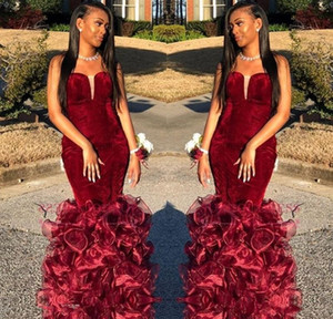 Burgundy Mermaid Prom Dresses 2019 Sweetheart Velvet Fitted Prom Gowns Floor Length Ruffled African Cocktail Party Gowns