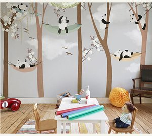Wholesale Bacaz Large Cute Panda Trees D Cartoon Murals Wallpaper for Baby Child Room d Wall Photo Mural Wall paper Stickers