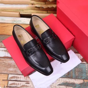 Wholesale 2019 Top Quality brand Formal Dress Shoes For Gentle Men Pure color Genuine Leather Shoes Pointed Toe Men s Business Oxfords Casual Shoes