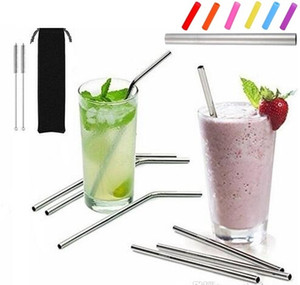 "More size stainless steel straw straight and bent 8.5""  9.5""  10.5"" reusable drinking straw with processed nozzles kitchen bar drinking tool"