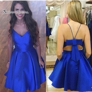 Wholesale Royal Blue Cheap Homecoming Party Dresses Bow Back Design Satin A line Bows Short Prom Graduation Cocktail Dress Gowns New