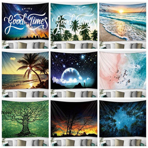 Wall Hanging Tapestry 150*130cm Polyester Bohemian Tapestries Scenery Pattern Blanket Beach Towels Tree Sunset Shawl Home Decor GGA3249-2