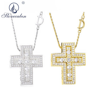Slovecabin 925 Sterling Silver Italy Luxulry Double Cross Move D Letter Chain Belle Epoque Zircon Pendant Necklace Jewelry MX190730