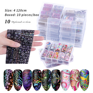 10Rolls Holographic Nail Foil Set 4*100cm Flower Leaves Leopard Laser Nail Art Transfer Sticker Manicure DIY Sticker Decorations