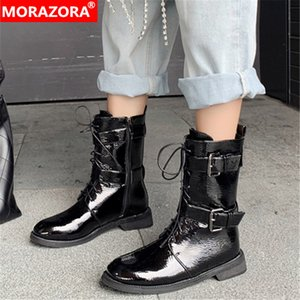 Wholesale MORAZORA new fashion ankle boots women patent leather flat shoes buckle lace up punk autumn winter Short Boots woman
