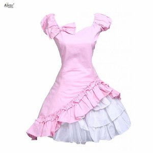 Wholesale 2018 Summer Pink Lolita Dress Womens Classic Cotton Short Sleeves Bow Ruffle Sweet Lolita Dress Ainclu XS XXL Cosplay Clothes