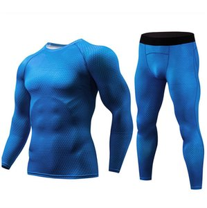 Mens Running Sport Compression T Shirts Pants 2pcs Sets Gym Jogging Training Men's Underwear Sports Suit Protective Clothing on Sale