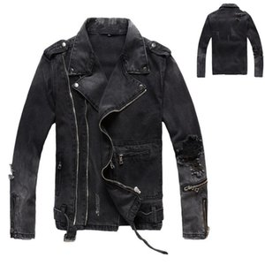 f83d2e06952 Brand New B Mens Designer Jackets Ripped Denim Jackets Zippers Streetwear  Distressed Motorcycle Biker Jeans Designer