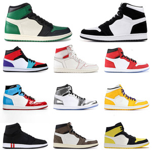 Wholesale shoes psg resale online - 2020 s Men Basketball Shoes Gold Black Toe Top Mid Bred Multi Color Designer Shoes PSG Banned Pine Green Sport Sneakers