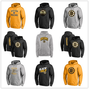 Men's Boston Bruins Hoackey Hoodies Branded Black Ash Yellow Gray long Sleeve Outdoor wear Sport jacket fans on sales printed logos on Sale