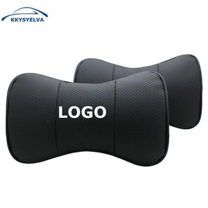 Custom Logo Black Genuine Leather Car Neck Pillows Auto Seat Cover Head Neck Rest Cushion Headrest Pillow C19041201