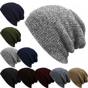 Wholesale slouchy beanies resale online - Winter Men s Knitted Cotton Caps Solid Color New Fashion Ski Warm Comfortable Unisex Thick male hats turban slouchy beanie bone