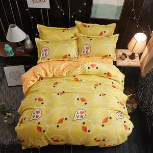 Yellow duck Soft comfortable 4pcs Bedding Set Bed Linen Bed Set Sheet Duvet Cover Pillowcase king queen full twin size on Sale