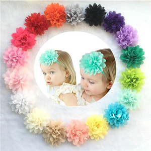 Children Flower Hair Accessories Kids Chiffon Headband Single Flower Solid Color DIY Accessory Make Headband Hair Sticks Hair Ring 57