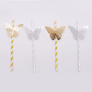 Wholesale gold striped straws for sale - Group buy 25pcs gold silver Striped Straw and D PVC butterfly for Romantic Wedding Party Decoration DIY birthday party bar Decoration