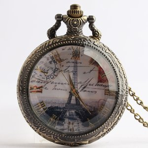 Wholesale Pocket Fob Watches Eiffel Tower Design Glass Face Quartz Pocket Watches Vintage Fob Gift for Men Women