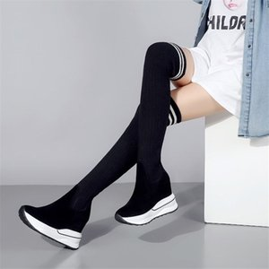 Wholesale NAYIDUYUN Women Black Genuine Leather Over The Knee Boots Stocking Thigh High Riding Boots Wedges High Heel Long Pumps Shoes