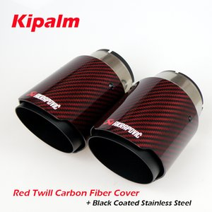 Universal Akrapovic Carbon Fibre Car Exhaust Pipe Muffler Tip Glossy Red Twill Carbon Fiber Cover + Black Coated Stainless Steel