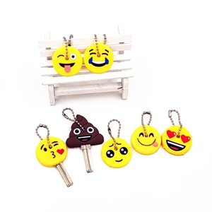 Wholesale 40Pcs set Cartoon Anime Cute Key Cover Cap Silicone Expression Emoji Smile Keychain Women Gift Key Ring Porte Clef Key Chain