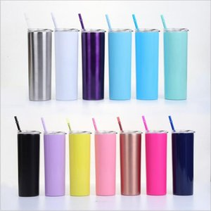 Water Bottle Insulated Tumbler Stainless Steel Cups Straight Thermos Vacuum Beer Coffee Mugs Lids Straws Drinkware 20Oz Double Layer B5726