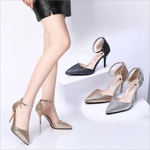 Wholesale Luxury Lady Sexy Dating Glitter Sequined Pointed High Heels shoes Fashion Women s Single Buckle Stiletto Sandals