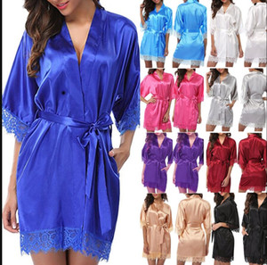 Red Women Lace Sexy Lace Satin Robe Dress Pajamas Summer Nightdress Short Sleeve Silk Sleepwear Women Sleep Lingerie Pajama Night Bathrobes
