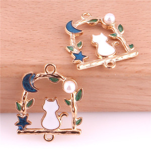 Wholesale enamel cat charms resale online - 30pcs Cat Moon mm Alloy Pearl Enamel Charms Jewelry Making Drop Oil Pendant DIY fit Bracelet Necklace Fashion Accessory