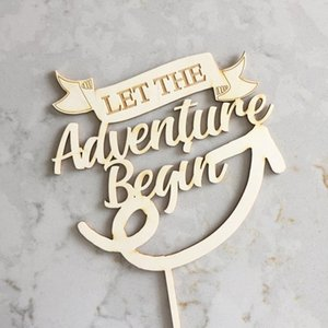 Wholesale Bridal Shower Cake Topper Engagement cake topper baby shower Let The Adventure Begin Topper Wedding