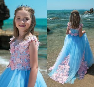 Wholesale christmas holidays wedding dresses for sale - Group buy Blue Pink Mixed Color Girls Pageant Dresses Sheer Neck Cap Sleeves Flowers Appliques Lace Tulle Ball Gown Flower Girls Dresses Holiday Dress