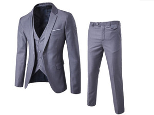 Wholesale Spring 2019 high quality business and leisure suit three-piece suit a grain of buckle the groom's best man wedding suit