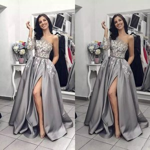 Wholesale 2019 Silver Grey Slit Prom Dresses One Shoulder Long Sleeve Lace Applique Women Black Girl Party Evening Wear Pageant Gowns Custom