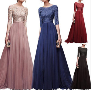 Wholesale elengant Sexy Lace Evening Dresses Ever Pretty O-Neck A-Line Hollow Out Short Sleeve Casual Midi Party Dress robe de soiree