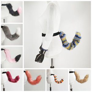 Wholesale Faux Fur Tail For Adult Cosplay Fox Tail Halloween Party Costume Bend Adjustable Cosplay Tail LJJK1899