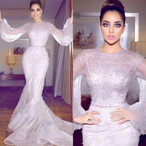 Wholesale 2019 Newest Arabic Mermaid Formal Dresses Evening Wear Long Sleeve Full Lace Pearls Prom Gowns Plus Size Prom Dresses Long
