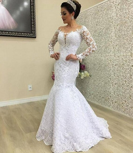 2019 dubai Arabic Mermaid Wedding Dresses off the shoulder gorgeous Illusion full lace long sleeves Vestido de novia customized Bridal Gowns on Sale